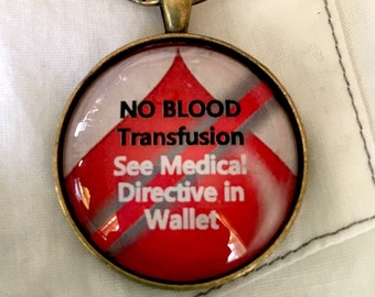 """JW Key Chain - """"NO BLOOD Transfusion - See Medical Directive in Wallet"""" - with Durable Lobster Claw Clip"""