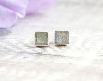 Silver Labradorite Square Stud Earrings - Suare Stud Earrings - Silver Earrings - Labradorite Studs - Handmade Stud Earrings