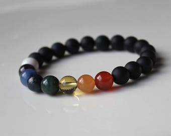 Seven Chakra Bracelet, Matte agate bracelet,  energy balancing bracelet, Healing Bracelet, 7 chakra