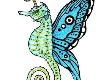 Seahorse with Butterfly Wings - Watercolor Painting - Art Print