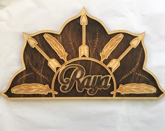 Laser Cut and Laser Engraved Feather and Arrow Name Sign