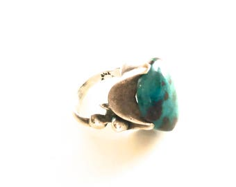 TAXCO TURQUOISE RING, Signed, Sterling Silver
