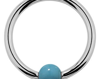 Faux Turquoise 14kt White Gold Captive Bead Ring