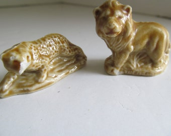 Lion and Tiger English Wade Red Rose Tea Figurines  Gold Lion Wade Figurines England Wade Brown Tiger Wades Small Figurines for Shadow Box