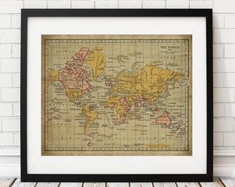 British empire map etsy world map print british empire vintage map art antique map wall art gumiabroncs Choice Image