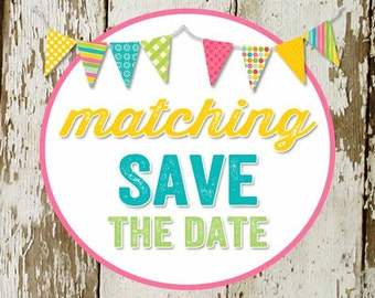 SAVE the DATE to match any invitation for baby shower or bridal shower, digital, DIY printable file katiedid designs cards