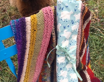Large Knitting Needle and Crochet Hook Organizing Roll - Organic Fabric Sheep Print