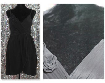 90's Silk Black Dress w/ Black Decorative Rose *Mint Condition