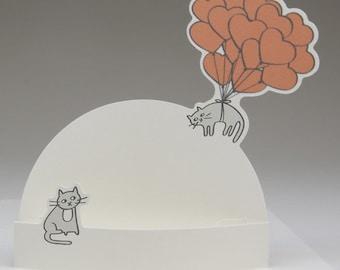 """Pop-Up-Karte zum Muttertag Valentinskarte """"Ballonkatze"""" Muttertagskarte Karte für Mama"""