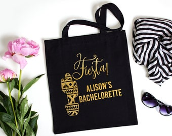Fiesta Cactus Bachelorette Personalized Tote Bag // Gold // Silver //  Personalized Tote Bag Southwest Boho Cactus // Mexico Bachelorette