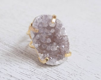 Gift For Her, Gray Druzy Ring, Natural Druzy Ring, Crystal Ring, Large Gemstone Ring, Gold Stone Ring, Adjustable Ring Statement Ring G5-167