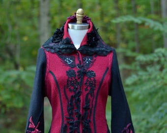 Long sweater COAT, OOAK boho arttowear, Victorian fantasy fairy tale clothing, patchwork Festival altered couture. Size L/XL. Ready to ship
