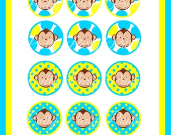 Printable Cupcake Toppers Boy Mod Monkey 2 inch Round Circles for Cupcake Toppers, Bag Tags, Thank You Favors