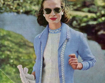 Vintage 1950s Cardigan & Matching Sweater Knitting Pattern Sz M: Instant Download