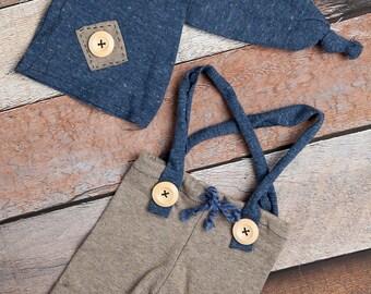 Blue & Tan bib shorts for newborn photography