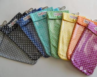 Polka Dot Epi Pen Pouch (1) Clear Front Pocket Clip Bag Allergy Wear 4x8 Injector Holder ID Card Included Assorted Colors and Sizes