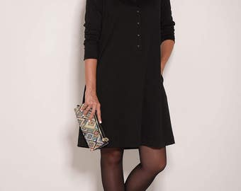 Black dress, evening dress, long sleeve dress, casual dresses, women dresses, button dress, Valentines day, knee length dress, A line dress
