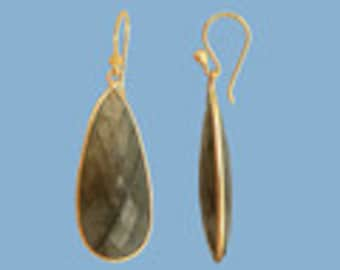 Long Teardrop Labradorite gemstone Gold vermeil Dangle Earrings in gold