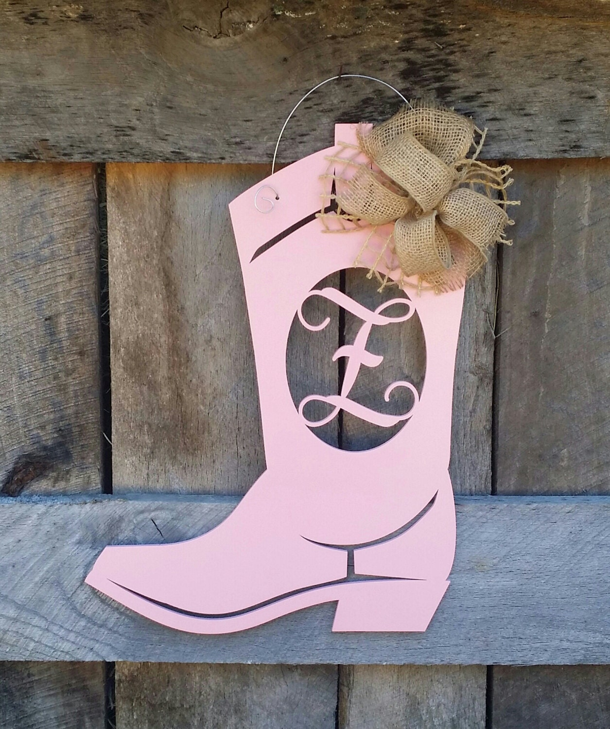 Boot Door Hanger Personalized Boot Painted Initial Door