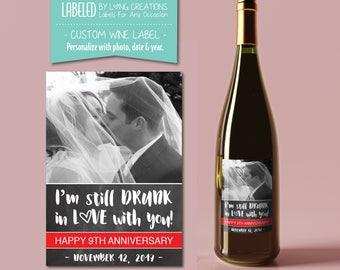 anniversary wine label  - anniversary gift - happy anniversary - personalized wine label - waterproof labels - wedding - engagement