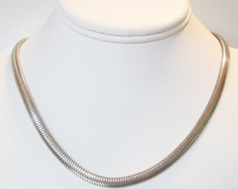 "Sterling Silver  Omega Chain Necklace 6mm (1/4"")  18""  Great for Large Pendants - 2642"