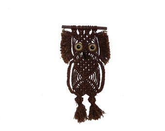 Unique vintage retro mid century modern textile artwork: wall hanging Tapestry Owl with ceramic eyes & beak. Made in Sweden Scandinavian