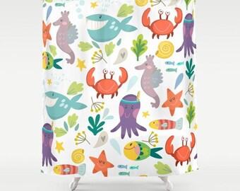 Under The Sea Shower Curtain, Marine Life Shower, Nautical Shower, Whales  Shower,