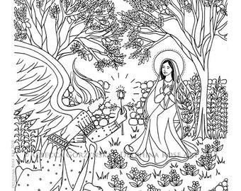 Annunciation Coloring Page - Our Lady Mary Angel Gabriel Marian Christian Catholic Art