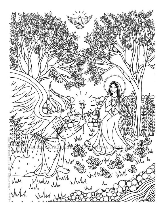 Annunciation Coloring Page Our Lady Mary Angel Gabriel