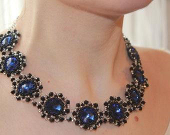 Blue necklace statement necklace fashion choker necklace for womens royal blue necklace festival necklace blue wedding necklace for her