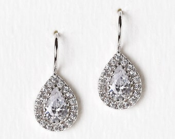 Bridal Jewelry Bridesmaids Jewelry Teardrop Earrings Bridesmaids Earrings Bridal Party Gift Mother of the Bride Gift Bridal Earrings E297-S