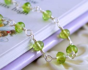 Genuine Peridot Necklace, August Birthstone, Lime Green Gemstone, Sterling Silver, Child Children's Jewelry