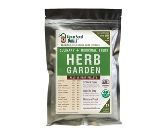 12 Variety Heirloom Herb Kit, Non-Gmo, Non-Hybrid Seed Kit DIY Gift - includes 12 seed starting Peat Pellets