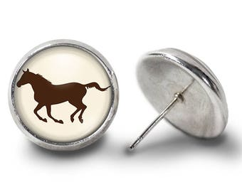 Galloping Horse Earrings, Brown Horse Earrings - Equestrian Earrings - Horse Jewelry for Her (Pair) Lifetime Guarantee (E0489)