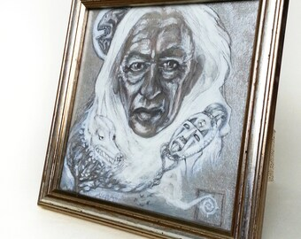 One of a kind, original hand- made art, Elder portrait, silver, black and white painting, framed art