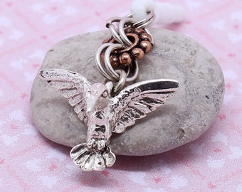 Bird Dust Plug Charm - Hummingbird, Cell Phone Charm, Mini Chainmail, Dust Plug or Lanyard Charm, Choice of Copper or Pewter Spacer Bead,