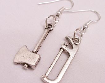 Metal axe and saw tool charm earrings - tool themed jewelry - miniature tool earrings - tool charm themed earrings - axe and saw earrings
