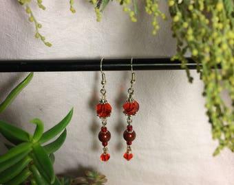Earrings Red Pearl Swarovski Crystal Gift