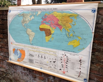 Mid century usa etsy vintage mid century world series origins of man usa school map wall chart gumiabroncs Images