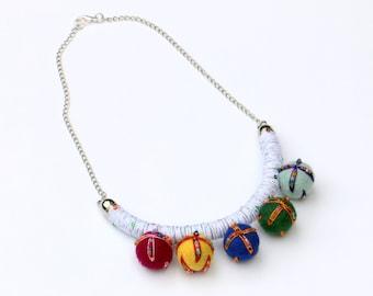 Pom Pom Necklace, Playful Fabric Necklace, Fiber Necklace, Statement Necklace, Colorful Textile Jewelry, Chunky Necklace, Pom Pom Jewelry