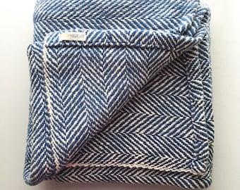 Navy Woven Blanket Herringbone Throw
