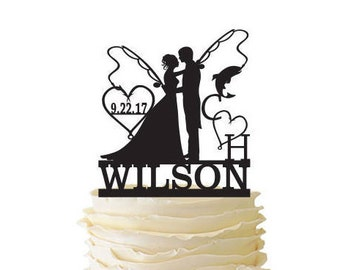 Mr. Mrs. with Bride and Groom - Fishing Poles With Date and Initials and Last Name  - Standard Acrylic - Wedding - Fishing Cake Topper - 163