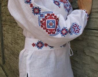 "White blouse vyshyvanka ""Ornament"" of 100% linen Ukrainian vyshyvanka blouse Ukrainian clothing embroidered shirt  boho blouse"