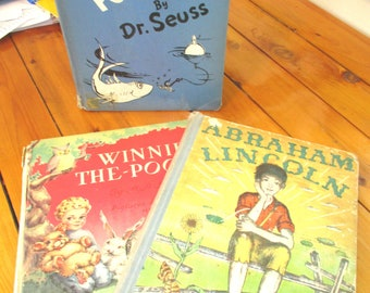 Vintage Hardcover Book Lot/McElligot's Pool by Dr Suess/Winnie the Pooh by AA Milne/Abraham Lincoln by Ingri and Edgar Parin D'aulaire