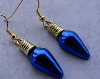 Miniature Retro Christmas Bulb Earrings - Classy Christmas Bulbs in Blue