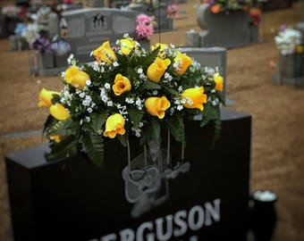Headstone saddle cemetery flowers saddle grave decoration flowers headstone flowers for grave Spring grave flowers memorial arrangement