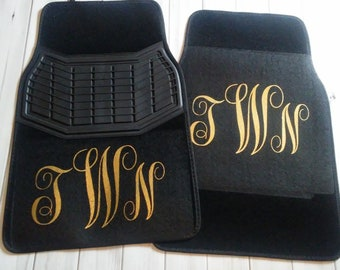 Women Teen Monogrammed BLACK Personalized Front Seat Carpet Universal Fit Car SUV Truck Floor Mats