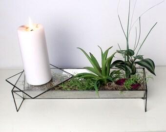 Modern Geometric Long Triangular Glass Terrarium- Stained Glass Decor - Home Decor