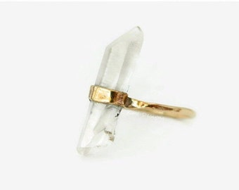 Quartz Gold Rings, Raw Quartz Ring, Healing Quartz Ring, Gemstone Ring, Anniversary Ring, Statement Ring