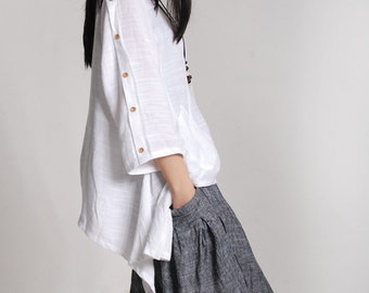 White linen tunic loose cotton top spring linen top asymmetrical shirt maxi blouse plus size clothing linen clothing